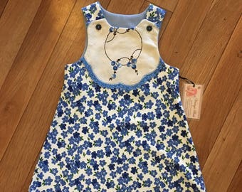 Blue Floral Girls Pinafore.  Size 3