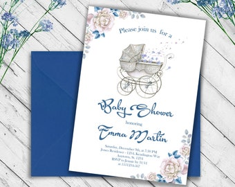 Roses Baby Shower Blue Invitation Baby Shower Invite Expecting Invitation Rustic Invitation Cradle Invitation Watercolor Invite Mother to be