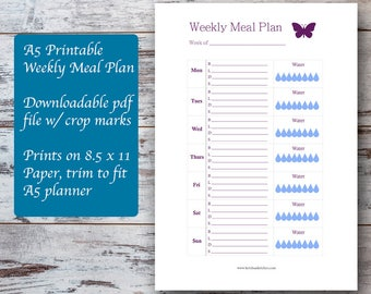 A5 Planner Printable Weekly Meal Plan Template w/ Water Tracker, Meal Planning