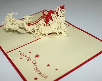 Popup cards 3D card Christmas card - Santa on the sleigh