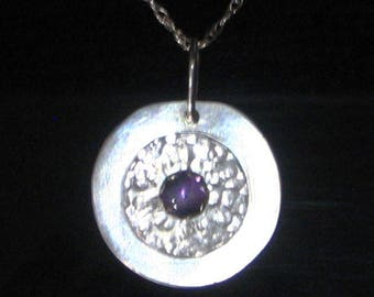 Round Amethyst and Sterling Silver Necklace