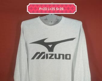 Vintage Mizuno Shirt Long Sleeve Big Logo Shirt White Colour Size L Made in Japan Adidas Shirts Nike Shirts Fila Kappa Asics Shirt Sportwear