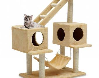 Free shipping! CAT SCRATCHING POST Tree 3.5' High , Designer Cat Tree, Elegant Cat Condo, Unique Cat Furniture, Custom Cat Tree house