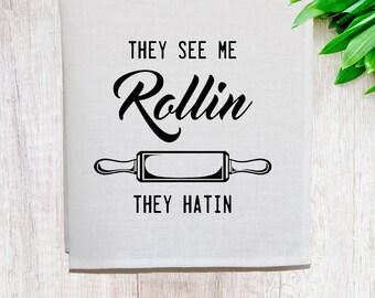 See me Rollin' Linen Tea Towel [Off White]