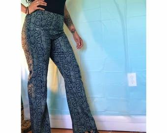 Vintage Army Green snake Print Pants