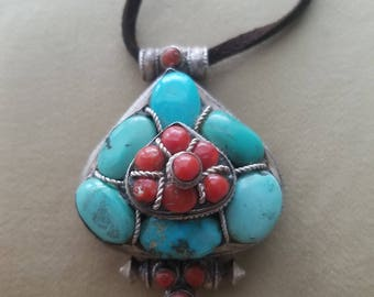 Turquoise and Coral Tibetan Gau Prayer Box Pendant Necklace - Sterling Silver