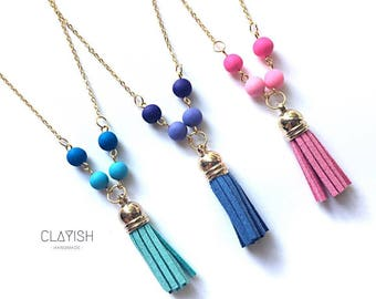 Polymer Beads with Tassel Necklace