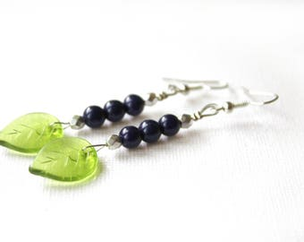 Earrings silver Midnight blue and green leaves