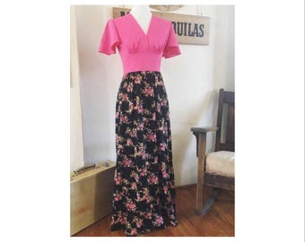 1970's pink and floral print dress