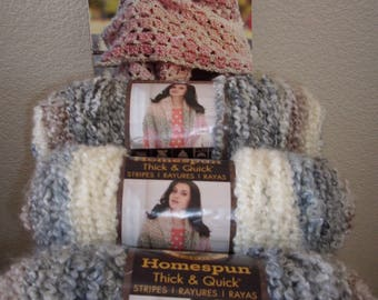 3 skeins Lion Brand Homespun Thick & Quick super bulky yarn,detash new book and yarn, color Granite Stripes,Lion Brand Booklet Shawls