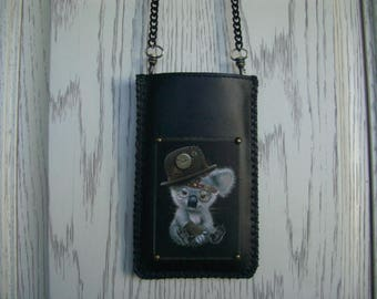 koala bear on a bag of leather for your phone