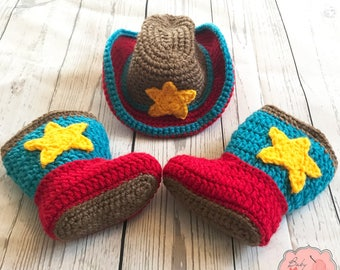 Toy Story Inspired Woody Jesse Cowboy Cowgirl Infant Newborn Baby Outfit Hat Boots Shoes Crochet Photography Photo Prop