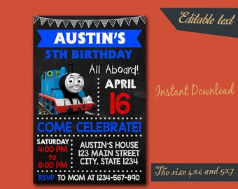 Thomas The Train Chalkboard Editable Invitation / Thomas The Train Birthday / Thomas The Train Birthday Invitation / Thomas Editable-412