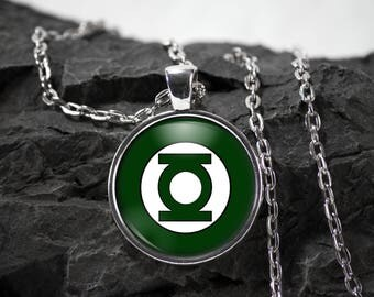 The Green Lantern Glass Pendant superhero green lantern necklace green lantern jewelry photo pendant art pendant photo jewelry glass jewelry