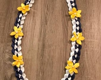 CUSTOM Ribbon Lei with Hand Sewn Flowers