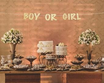 Gender reveal decorations,  gender reveal banner, gender reveal party banner, boy or girl banner, gender reveal gold banner, cute banner