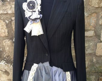 Upcycled Jacket, Refashioned Jacket, Black Embellished Jacket, OOAK Jacket, Black Jacket, Size 8 Jacket, Upcycled Blazer, Black Blazer