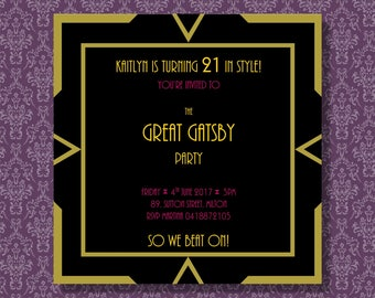 The Great Gatsby Party Invitation/Customizable Printable Download/ 1920s Party invitation