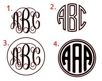 Vinyl Monogram Decal, Vinyl Monogram Sticker, Monogram for Yeti Cup, Monogram Sticker for Car Window