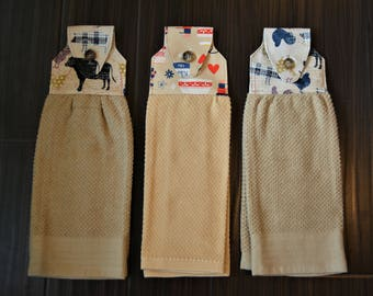 Hanging kitchen towels, double sided, high quality hand made