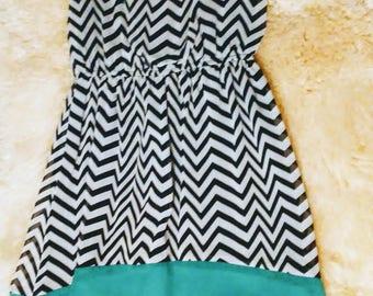 Chevron and Green Flowy dress