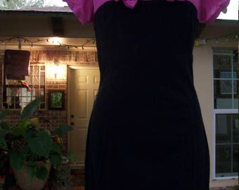 1950s Style Violet and Black Wiggle Stretch Dress
