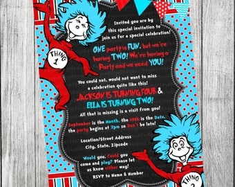 Dr Seuss Thing 1 Thing 2 Invitation