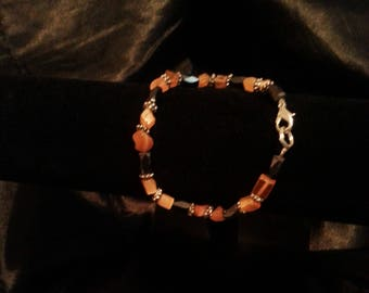 Tangerine Agate & Hematite Bracelet with Sterling Silver Clasp
