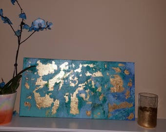 Gold leaf abstract painting