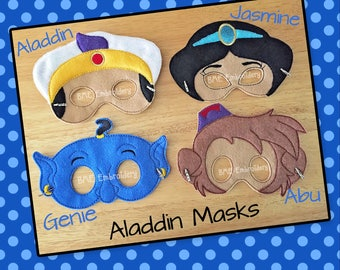 Aladdin Inspired Felt Masks-Jasmine-Aladdin-Genie-Abu-Child's Dress Up Imaginary Play- Birthday Party Favor-Photo Shoot-Theme Party