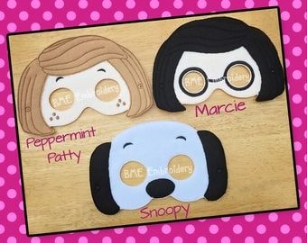 Peanuts Inspired Felt Masks 2- Marcie-Peppermint Patty- Lucy-Child's Dress Up Imaginary Play- Birthday Favor-Photo Shoot-Theme Party