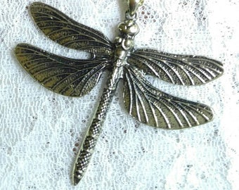Dragon fly antique gold pendent