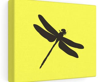 Dragonfly - Canvas Wall Art - Yellow - Black Dragonfly Art