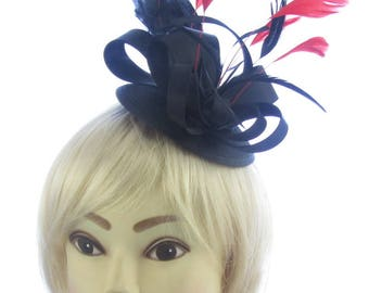 Black satin with red feathers hatinator clip, Ascot Races,Weddings