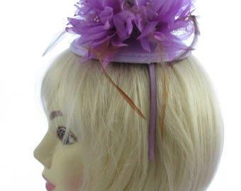 Lilac/purple flowers and ribbon on a juliet cap and headband, Weddings, Races,Ladies Day
