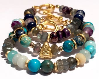 Buddha Bracelets For Women - Womens Gemstone Buddha Bracelets - Buddha Stack Bracelets - Buddha Layering Bracelets - Buddhist Jewelry