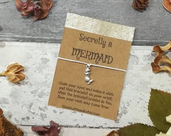 Mermaid Wish Bracelet, Mermaid Gift, Mermaid Jewellery, Gift for Her, Friendship Bracelet, Summer Bracelet, Mermaid Bracelet, Mermaid Charm