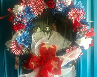 "Celebrate USA, a full sized 18"" grapevine wreath"