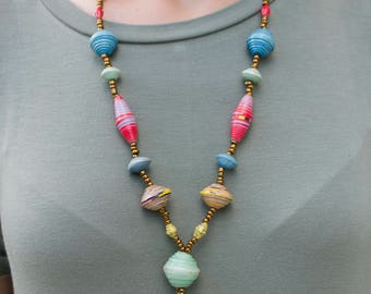 African Multicolored Beaded Necklace