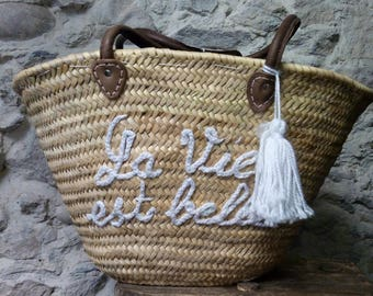 Basket - leather handles - basket - natural fibers - boho style - hippie chic - gypsy style - life is beautiful - white - Bohemian chic