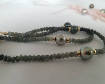 Ombre Tahitian pearl necklace Tahitian pearl gemstone necklace, sterling silver or gold filled rose gold filled chain handmade