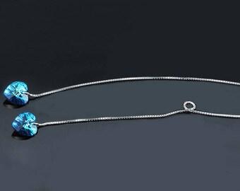 Earrings hanging heart, women jewelry heart, blue heart earrings heart jewelry hypoallergenic woman gift