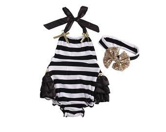 Roxy Black and White Stripe Romper