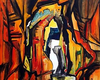 Way -  original painting, canvas, oil, nature, black, fine arts, gallery