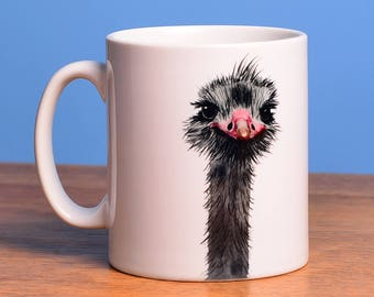 Ostrich - ceramic mug from artist's original image
