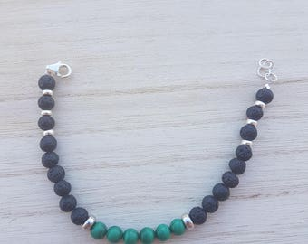 Malachite bracelet and Silver 925. lava stone women's, men's and Unisex.