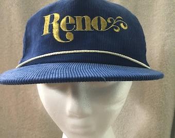 Vintage 80s Blue Corduroy Reno, Nevada  Souvenir Snapback Baseball Cap Hat
