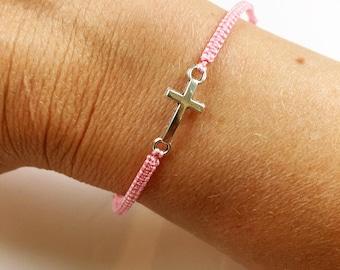 Cross bracelet; macrame bracelet; adjustable; charm bracelet