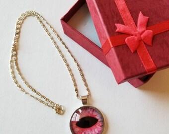 Pink eye Necklace, Pink eye Glass cabochon necklace.
