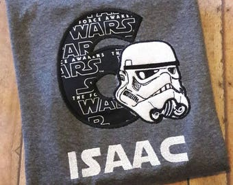 Storm Trooper Embroidered Birthday Shirt
